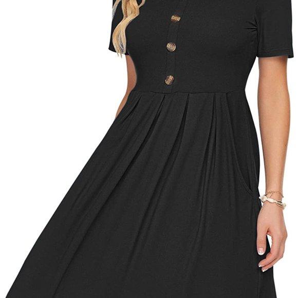 Black Women's Short Sleeve Pleated Loose Swing Casual Dress S